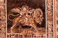 Roman Art:  Mosaic--Genio bacchico su leone.  National Museum, Naples.