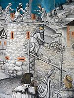 Fresken in den Räumen des Abtes, Kloster zum heiligen Georg, Stein am Rhein, Kanton Schaffhausen, Schweiz<br /> frescoes, Saint George's Abbey in Stein am Rhein, Canton Schaffhausen, Switzerland