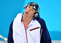 July 30, 2012..Michael Phelps arrives on deck to compete in Men's 200m Butterfly semifinal at the Aquatics Center on day three of 2012 Olympic Games in London, United Kingdom.