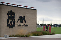14th September 2021: The  AXA Training Centre, Kirkby, Knowsley, Merseyside, England: Liverpool FC training ahead of Champions League game versus AC Milan on 15th September: the Liverpool FC club crest outside the main entrance
