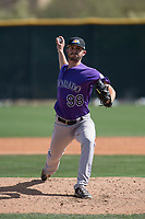 Colorado Rockies relief pitcher Kenny Oakley (98) during a Minor League Spring Training game against the Milwaukee Brewers at Salt River Fields at Talking Stick on March 17, 2018 in Scottsdale, Arizona. (Zachary Lucy/Four Seam Images)
