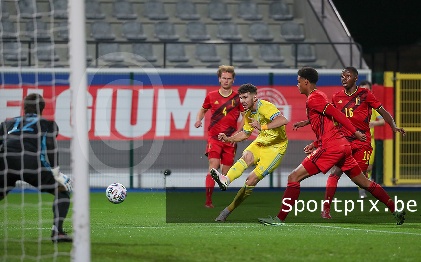 Elkhan Astanov (9) of Kazakhstan has an attempt on goal during a soccer game between the national teams Under21 Youth teams of Belgium and Kazakhstan on the third matday in group I for the qualification for the Under 21 EURO 2023 , on friday 8 th of october 2021  in Leuven , Belgium . PHOTO SPORTPIX | SEVIL OKTEM