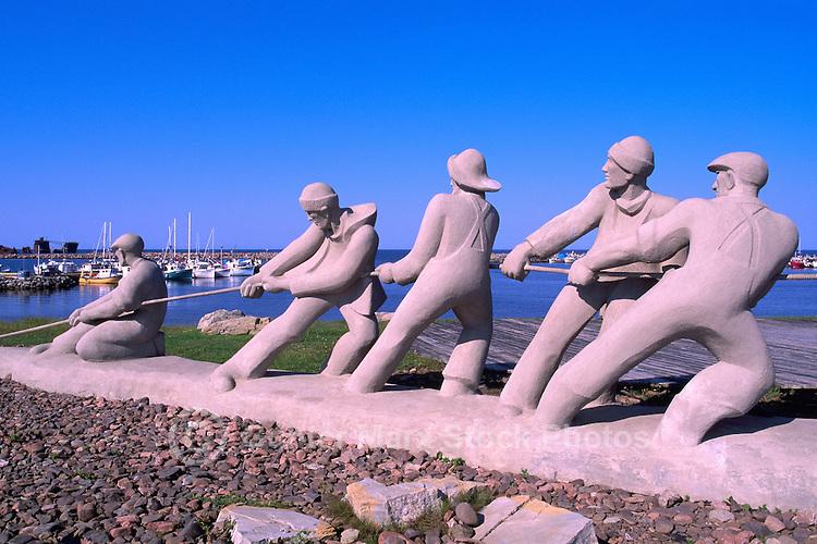 """L'Anse de l'Etang-du-Nord, Ile du Cap-aux-Meules, Iles de la Madeleine, Quebec, Canada - """"Les Pecheurs"""" (The Fishermen) Sculpture (Artist: Roger Langevin) - (North Pond Cove, Grindstone Island, Magdalen Islands)"""
