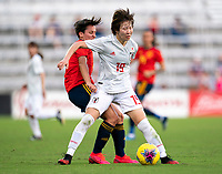 ORLANDO, FL - MARCH 05: Marta Corredera #7 of Spain collides with Jun Endo #19 of Japan during a game between Spain and Japan at Exploria Stadium on March 05, 2020 in Orlando, Florida.