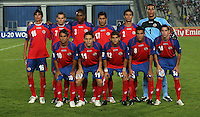 Costa Rica's team from left to right, back row, Carlos Hernandez (16), Marcos Urena (7), Roy Smith (3), Josue Martinez (17), Jose Mena (2), Esteban Alvarado (1), front row, Diego Estrada (10), Diego Madrigal (11), Cristian Gamboa (12), David Guzman (8), Bryan Oviedo (14),   stands on the field before the match against Cost Rica during the FIFA Under 20 World Cup Quarter-final match at the Cairo International Stadium in Cairo, Egypt, on October 10, 2009.   . . .. .. .....