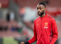 1st October 2021;  Bet365 Stadium, Stoke, Staffordshire, England; EFL Championship football, Stoke City versus West Bromwich Albion; Semi Ajayi of West Bromwich Albion during the warm up