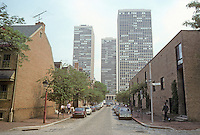 Philadelphia: Looking N. on 2nd St. between Spruce & Pine to Society Hill Towers. To left, restored; right, new. Architects unknown.
