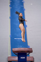 LOS ANGELES, CA - April 19, 2013:  Stanford's Ashley Morgan competes on vault during the NCAA Championships at UCLA.