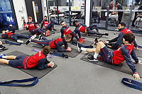 Players exercise in the gym during the Swansea City Training at The Fairwood Training Ground, Swansea, Wales, UK. Thursday 11 January 2018