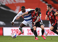 17th October 2020; Vitality Stadium, Bournemouth, Dorset, England; English Football League Championship Football, Bournemouth Athletic versus Queens Park Rangers; Bright Osayi-Samuel of Queens Park Rangers competes for the ball with Diego Rico of Bournemouth