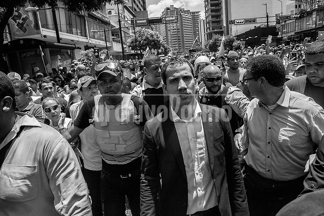 Juan Guaido, leader of the opposition-controlled National Assembly who declared himself interim president, during a failed attempt to overthrow Venezuela President Nicolas Maduro in Caracas April 30, 2019