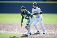 Michigan State Spartans first baseman Brock Vradenburg (48) on defense against the Michigan Wolverines on March 22, 2021 in NCAA baseball action at Ray Fisher Stadium in Ann Arbor, Michigan. Michigan State beat the Wolverines 3-0. (Andrew Woolley/Four Seam Images)