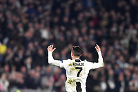 Cristiano Ronaldo of Juventus celebrates after scoring goal of 1-0 during the Uefa Champions League 2018/2019 round of 16 second leg football match between Juventus and Atletico Madrid at Juventus stadium, Turin, March, 12, 2019 <br />  Foto Andrea Staccioli / Insidefoto