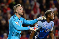 Harrison, NJ - Wednesday Feb. 22, 2017: David Ousted, Kendall Waston during a Scotiabank CONCACAF Champions League quarterfinal match between the New York Red Bulls and the Vancouver Whitecaps FC at Red Bull Arena.