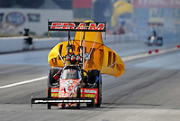 Sept. 6, 2010; Clermont, IN, USA; NHRA top fuel dragster driver Cory McClenathan after winning in the first round during the U.S. Nationals at O'Reilly Raceway Park at Indianapolis. Mandatory Credit: Mark J. Rebilas-