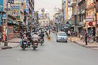 Nepal, Kathmandu.  Motorcycle Traffic on Putali Sadak Street.  Driving on the Left.