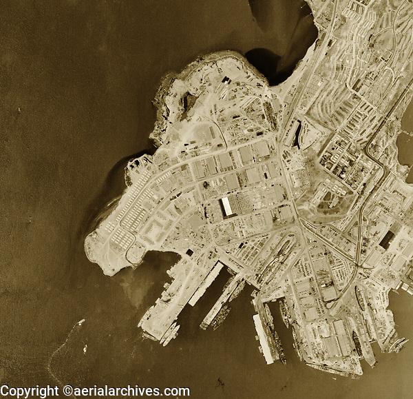 Historical aerial photograph Hunters Point Naval Shipyard, San Francisco, California, 1946