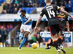 St Johnstone v Partick Thistle…28.04.18…  McDiarmid Park    SPFL<br />Matty Willock's shot is saved by Tomas Cerny<br />Picture by Graeme Hart. <br />Copyright Perthshire Picture Agency<br />Tel: 01738 623350  Mobile: 07990 594431