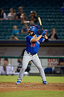 Oklahoma City Dodgers starting pitcher Ben Holmes (33) at bat during a Pacific Coast League game against the New Orleans Baby Cakes on May 6, 2019 at Shrine on Airline in New Orleans, Louisiana.  New Orleans defeated Oklahoma City 4-0.  (Mike Janes/Four Seam Images)