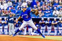 25 March 2019: Toronto Blue Jays pitcher Sam Gaviglio on the mound to start an exhibition game against the Milwaukee Brewers at Olympic Stadium in Montreal, Quebec, Canada. The Brewers defeated the Blue Jays 10-5 in the first of two MLB pre-season games in the former home of the Montreal Expos. Mandatory Credit: Ed Wolfstein Photo *** RAW (NEF) Image File Available ***