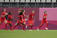 KASHIMA, JAPAN - AUGUST 2: Jessie Fleming #17 of Canada celebrates after scoring a goal during a game between Canada and USWNT at Kashima Soccer Stadium on August 2, 2021 in Kashima, Japan.