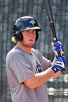First baseman Dash Winningham (34) of the Columbia Fireflies before a game against the Lexington Legends on Friday, April 21, 2017, at Spirit Communications Park in Columbia, South Carolina. Columbia won, 5-0. (Tom Priddy/Four Seam Images)