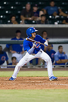 AZL Cubs shortstop Luis Vazquez (1) squares to bunt against the AZL Giants on September 6, 2017 at Sloan Park in Mesa, Arizona. AZL Giants defeated the AZL Cubs 6-5 to even up the Arizona League Championship Series at one game a piece. (Zachary Lucy/Four Seam Images)