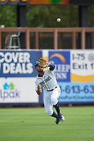Charlotte Stone Crabs left fielder Garrett Whitley (16) catches a fly ball during a Florida State League game against the Palm Beach Cardinals on April 14, 2019 at Charlotte Sports Park in Port Charlotte, Florida.  Palm Beach defeated Charlotte 5-3.  (Mike Janes/Four Seam Images)