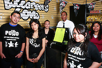 Mission Bay High School Students, (from L) Alan Ventura, Vanessa Zacarias, Pamela Villavicencio, Kenyu Arnold, Beatrice Cortez and Sokunthea Prang stand in the student-run store on Frday, April 25 2008.  The students and the rest of their Business 100 class formed a tee-shirt company called Put On That Outfit (POTO) as part of their studies.  They have sold roughly 48 of the t-shirts worn by Ventura, Vacarias and  Cortez in this image.