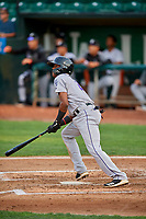 Julio Carreras (2) of the Grand Junction Rockies at bat against the Ogden Raptors at Lindquist Field on September 9, 2019 in Ogden, Utah. The Raptors defeated the Rockies 6-5. (Stephen Smith/Four Seam Images)
