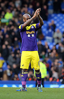 Pictured: Leroy Lita of Swansea thanks away supporters. Sunday 16 February 2014<br /> Re: FA Cup, Everton v Swansea City FC at Goodison Park, Liverpool, UK.
