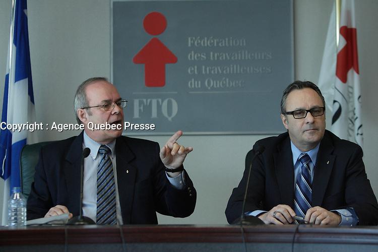 Jan  2012 - Montreal, Quebec,  CANADA - FTQ - Enjeux 2012 - Michel Arsenault  (L), Daniel Boyer (R)