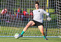 Boyds, MD - Saturday May 07, 2016: Portland Thorns FC goalkeeper Michelle Betos (18) before a regular season National Women's Soccer League (NWSL) match at Maureen Hendricks Field, Maryland SoccerPlex. Washington Spirit tied the Portland Thorns 0-0.