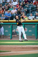 Matt Thaiss (17) of the Salt Lake Bees on defense against the New Orleans Baby Cakes at Smith's Ballpark on June 8, 2018 in Salt Lake City, Utah. Salt Lake defeated New Orleans 4-0.  (Stephen Smith/Four Seam Images)
