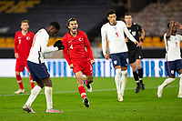 13th October 2020; Molineux Stadium, Wolverhampton, West Midlands, England; UEFA Under 21 European Championship Qualifiers, Group Three, England Under 21 versus Turkey Under 21; Eddie Nketiah of England misses a penalty kick as Huseyin Turkmen of Turkey shouts for joy