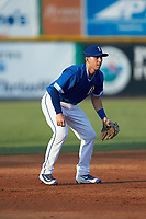 Burlington Royals shortstop Matt Morales (21) on defense against the Kingsport Mets at Burlington Athletic Stadium on July 27, 2018 in Burlington, North Carolina. The Mets defeated the Royals 8-0.  (Brian Westerholt/Four Seam Images)