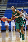 Texas Pan American Lady Broncs guard Jasmine Thompson (1) in action during the game between the Texas Pan American Lady Broncs  and the Texas Arlington Mavericks at the College Park Center arena in Arlington, Texas. UTPA defeats UTA 59 to 57....