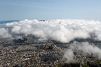 aerial photograph residential neighborhood fog San Francisco California