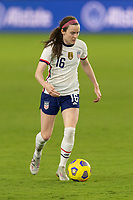 ORLANDO, FL - JANUARY 22: Rose Lavelle #16 dribbles the ball during a game between Colombia and USWNT at Exploria stadium on January 22, 2021 in Orlando, Florida.