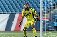 FOXBOROUGH, MA - JULY 25: USL League One (United Soccer League) match. Joe Rice #51 of New England Revolution II holds the near post during a game between Union Omaha and New England Revolution II at Gillette Stadium on July 25, 2020 in Foxborough, Massachusetts.