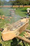 Heritage Days Festival. Union County. Burning out log to make a canoe.