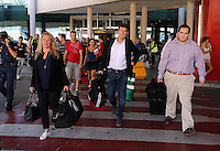 Wednesday 18 September 2013<br /> Pictured: Manager Michael Laudrup (C) arriving at Valencia Airport.<br /> Re: Swansea City FC players and staff travelling to Spain for their UEFA Europa League game against Valencia.