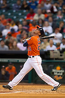 Houston Astros outfielder Rick Ankiel (28) follows through on his swing during the MLB baseball game against the Detroit Tigers on May 3, 2013 at Minute Maid Park in Houston, Texas. Detroit defeated Houston 4-3. (Andrew Woolley/Four Seam Images).