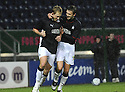 10/01/2009  Copyright Pic: James Stewart.File Name : sct_jspa11_falkirk_v_qots.SCOT ARFIELD CELEBRATES WITH KEVIN MCBRIDE AFTER HE SCORES FALKIRK'S FIRST.James Stewart Photo Agency 19 Carronlea Drive, Falkirk. FK2 8DN      Vat Reg No. 607 6932 25.Studio      : +44 (0)1324 611191 .Mobile      : +44 (0)7721 416997.E-mail  :  jim@jspa.co.uk.If you require further information then contact Jim Stewart on any of the numbers above.........