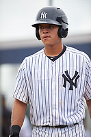 GCL Yankees East catcher Pedro Diaz (53) during the first game of a doubleheader against the GCL Yankees West on July 19, 2017 at the Yankees Minor League Complex in Tampa, Florida.  GCL Yankees West defeated the GCL Yankees East 11-2.  (Mike Janes/Four Seam Images)