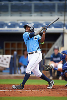 Charlotte Stone Crabs outfielder Yoel Araujo (28) at bat during a game against the Dunedin Blue Jays on July 26, 2015 at Charlotte Sports Park in Port Charlotte, Florida.  Charlotte defeated Dunedin 2-1 in ten innings.  (Mike Janes/Four Seam Images)