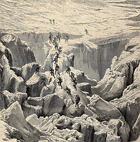 """Antique illustration of Monte Bianco climbing. Original was engraved from a drawing of Rouargue after photo of M. Bisson and was published on """"L'Illustration, Journal Universel"""", Paris, 1860"""