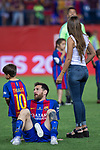 Leo Messi, Antonella Roccuzzo  and his son, Thiago Messi during the match of  Copa del Rey (King's Cup) Final between Deportivo Alaves and FC Barcelona at Vicente Calderon Stadium in Madrid, May 27, 2017. Spain.. (ALTERPHOTOS/Rodrigo Jimenez)