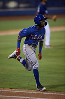 AZL Rangers Osleivis Basabe (2) runs to first base during an Arizona League game against the AZL Brewers Blue on July 11, 2019 at American Family Fields of Phoenix in Phoenix, Arizona. The AZL Rangers defeated the AZL Brewers Blue 5-2. (Zachary Lucy/Four Seam Images)