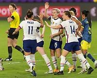 ORLANDO, FL - JANUARY 22: Megan Rapinoe #15 celebrates her penalty shot goal with teammates during a game between Colombia and USWNT at Exploria stadium on January 22, 2021 in Orlando, Florida.